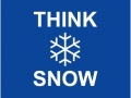 Think Snow, text and snowflake on blue background.