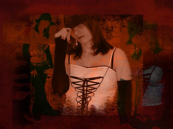Photograph of my friend manipulated with a grunge effect, various brushes and alpha transparency.