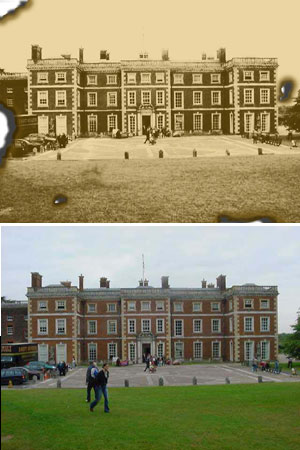 Before and After image manipulation of Middlesex University, UK school grounds using a antiquing effect