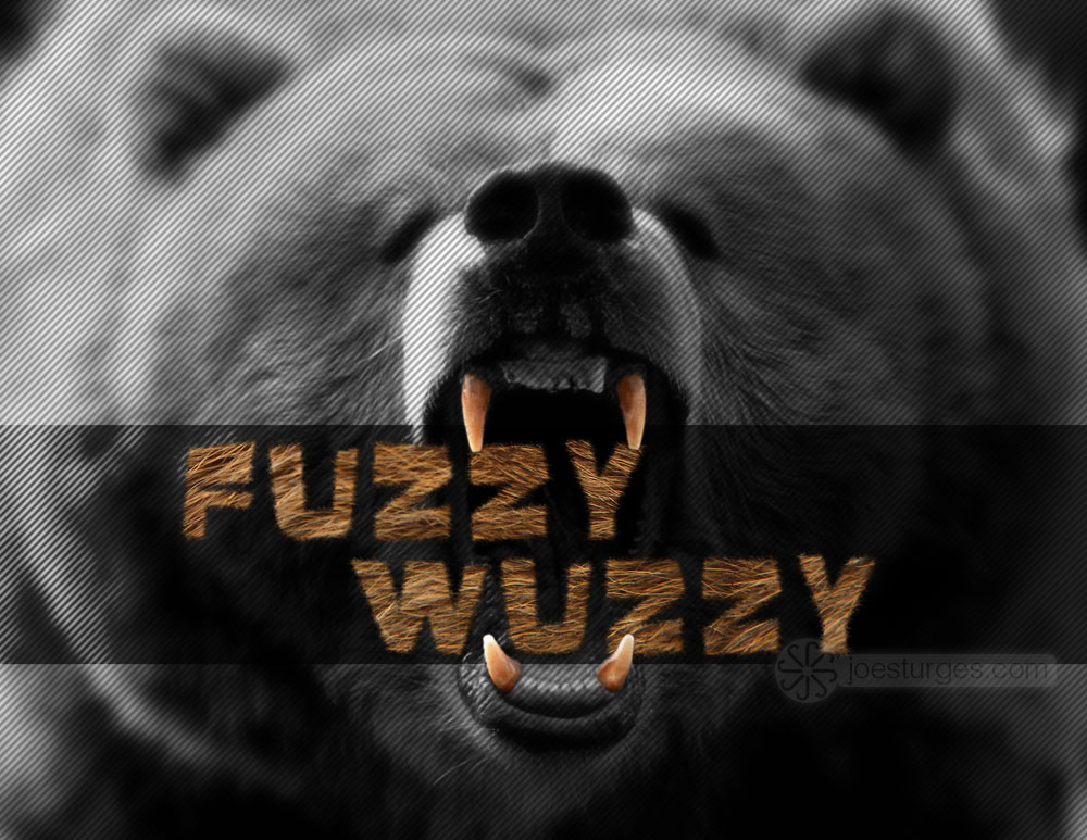 Furry text effect created with brushes and manipulated text. Roaring bear.