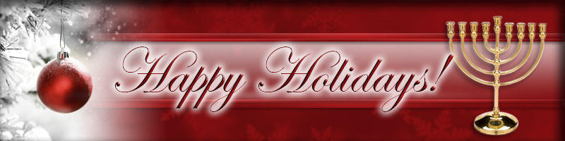Happy Holidays header for a winter newsletter.