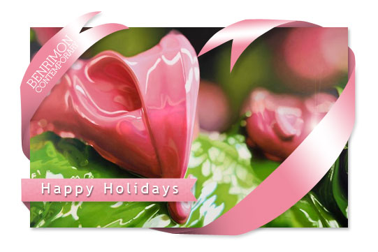 Contemporary art gallery - Happy Holidays web graphic for email n blast using Ben Weiners artwork and layers
