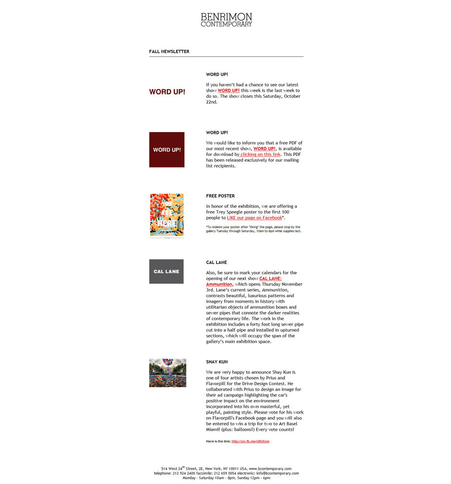 Constant Contact HTML Email - Contemporary Art Gallery Fall newsletter.