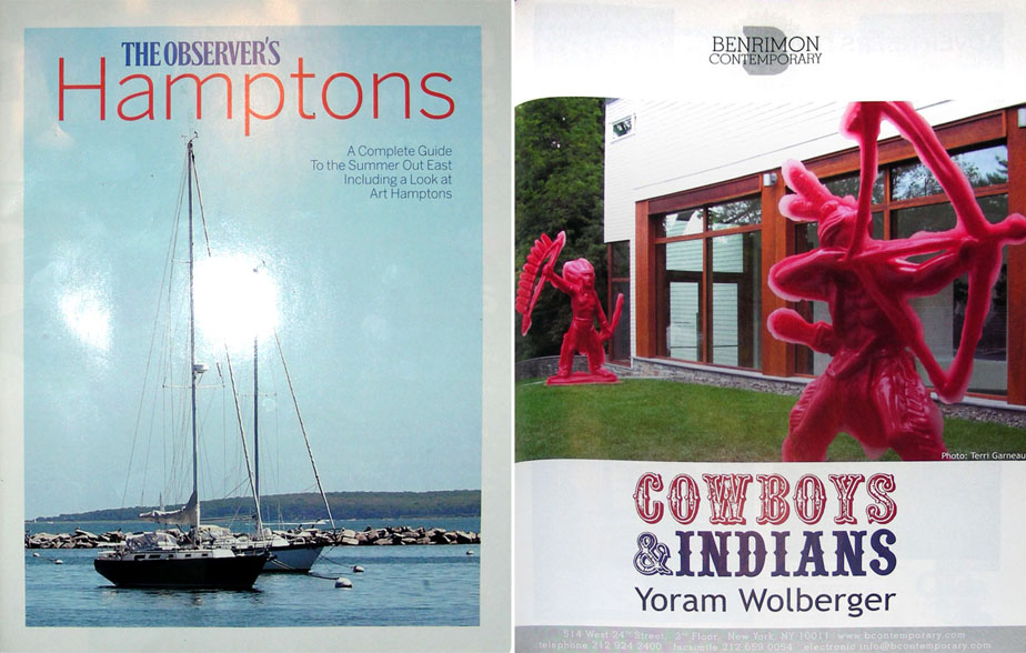 The Hamptons magazine, Cowboys and Indians life size plastic sculptures, contemporary gallery exhibition.
