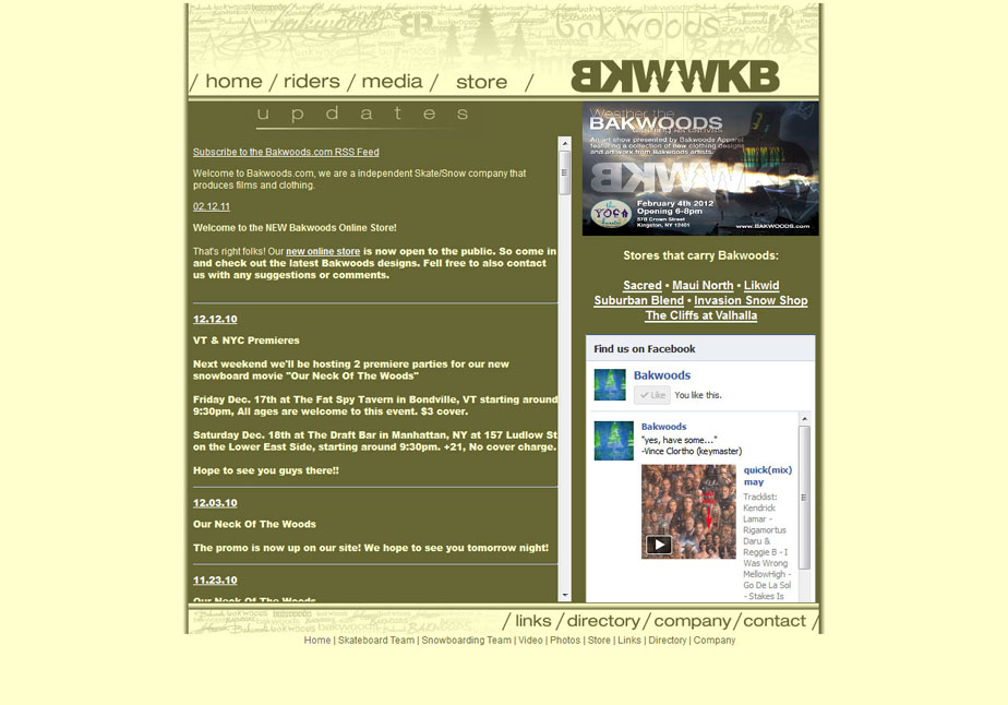 Bakwoods 2010 Website